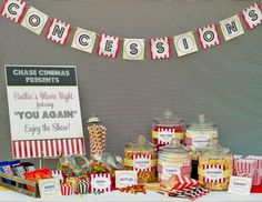 Drive in movie night candy bar