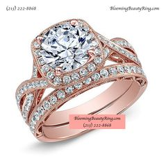 Custom Hand-Made Rose Gold Bridal Ring Set with matching wedding band by http://www.BloomingBeautyRing.com #BridalRings
