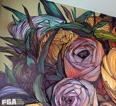 Flowers by First Graffiti Agency , via Behance Graffiti Art Drawings, Graffiti Wall Art, Graffiti Painting, Mural Wall Art, Zen Painting, Wall Painting Decor, Murals Street Art, Street Art Graffiti, Graffiti Flowers