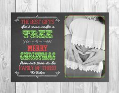 Christmas Themed Pregnancy Announcement Card // Personalized // (5x7) *Digital File* by MMasonDesigns on Etsy https://www.etsy.com/listing/185072641/christmas-themed-pregnancy-announcement