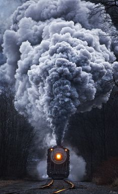 Steam locomotive railroad train tracks smoke headlight, Cumberland, West Virginia