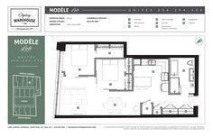 Plans des lofts style new-yorkais 204, 304 et 404 du projet Ogilvy Warehouse. 1428, Avenue Overdale, Montréal, QC H3G 2H1.