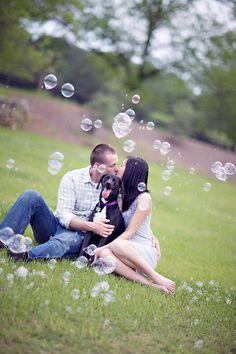 bubbles and your pup at your engagement shoot, so cute.