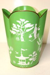 Chinoiserie trash can @sarahmclean i need to order this!