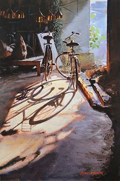 Painting by Ramesh Jhawar Art Watercolor, Watercolor Landscape, Watercolor Illustration, Edward Moran, Painting Competition, Bicycle Art, Alphonse Mucha, Traditional Paintings, Art Graphique