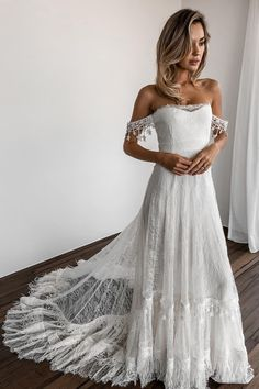 Romantic Off the Shoulder White Lace Long Bridal Gown from dreamdressy off the shoulder wedding dress, white lace wedding dress, long wedding dress, 2019 wedding dress How To Dress For A Wedding, White Lace Wedding Dress, Western Wedding Dresses, Bohemian Wedding Dresses, Long Wedding Dresses, Perfect Wedding Dress, Bridal Dresses, Wedding Gowns, Lace Dress
