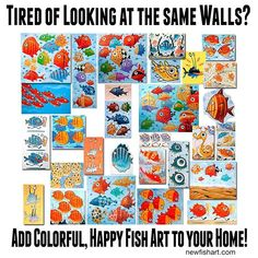 Bring a Smile to your home or office!  Collect colorful, fun fish art by F. Colorful Fish, Tropical Fish, Fish Artwork, Art Web, Comic Styles, Happy Art, Illustration Artists, Painting Art, Cartoon Art