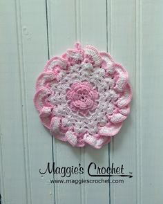 Maggie's personal Vintage Potholder Collection. Shop for Maggie's Crochet vintage patterns http://www.maggiescrochet.com/search?q=vintage+potholder #vintage #crochet #potholder #pink
