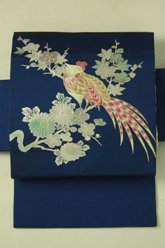 Navy nagoya obi / 紺地 樹上花鳥のお太鼓柄 名古屋帯   #Kimono #Japan http://global.rakuten.com/en/store/aiyama/