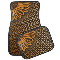 These Western Tooled Leather and Sunflower Design Car Mats will look fantastic in my truck! Polo Lacoste, Mat Best, Honda, Leather Tooling, Tooled Leather, Leather Bags, Sunflower Design, Picture Blog, Suzuki Jimny