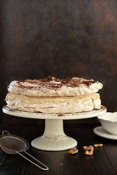 Tort bezowy Dacquoise Pavlova, Mascarpone Creme, Dacquoise, Kakao, Desserts, Bakken, Caramel, Tailgate Desserts, Deserts