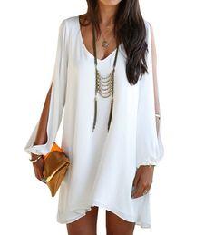 Sexy New Women V-neck Strapless A-line Casual Skirt Mini Dress (XL, White)