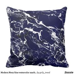 Modern Navy blue watercolor marble pattern Throw Pillow