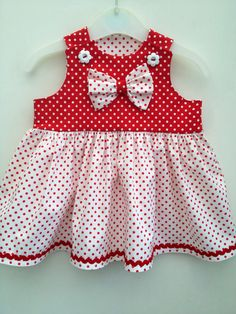 Red polka dot baby girl party dress