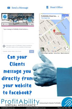 Happy Thumbs Up Thursday! Can your Clients message you directly from your website to Facebook? OR do you make them go through the old school email method? Bring your website into 2016 and engage with your Client sooner. The can even like and share your page from your website too. Ask us how right now! Love Your ProfitAbility Virtual Assistant.