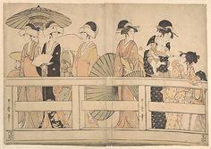 Enjoying the Cool Evening Breeze on and under the Bridge, by Kitagawa Utamaro (c 1800), at The Metropolitan Museum of Art - metmuseum.org