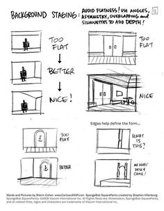 SpongeBob Drawing Tips by Sherm Cohen - Background Staging: Avoid Flatness - use. - SpongeBob Drawing Tips by Sherm Cohen – Background Staging: Avoid Flatness – use angles and ove - Animation Storyboard, Animation Reference, Art Reference, How To Storyboard, Computer Animation, Comic Drawing, Manga Drawing, Drawing Techniques, Drawing Tips