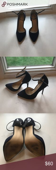 """NAVY Nine West heels HARD TO FIND!!! Navy blue suede pump with ankle strap.  Worn only 2xs.  Heel height about 4.5"""". Nine West Shoes Heels"""