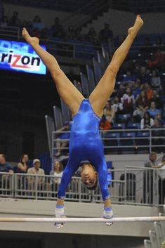 Freshman Kytra Hunter celebrating her score of 9.95 on vault. Florida Gymnastics Gators ...