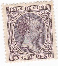 1890 Isla de Cuba Cuban Un C De Peso Alfonso XIII Stamp by onetime, $1.50