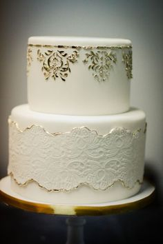 use lace as a mask and then use edible glitter or gilding to print on fondant  Wedding Cakes Gallery « Sweet & Saucy Shop
