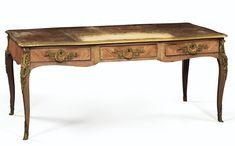 Rococo Buereau Plat, elegant table with gallery edge that has a minimum storage underneath