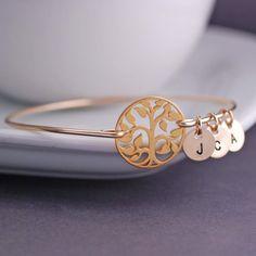 Gold Tree of Life Bangle Bracelet Family Tree Jewelry by georgiedesigns