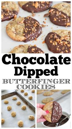 Sharing our favorite butterfinger cookies today! My Chocolate Dipped Butterfinger Cookies are show-stopping treats that taste incredible. Chocolate Dipped, Chocolate Recipes, Easy Homemade Cookie Recipes, Best Cookie Recipes, Butter Finger Dessert, Butterfinger Cookies, Easy Peanut Butter Cookies, Yummy Cookies, Recipes