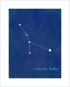 Art print for baby and kid's rooms from Hello Happy Design www.hellohappydesign.com. Cancer baby constellation; stars