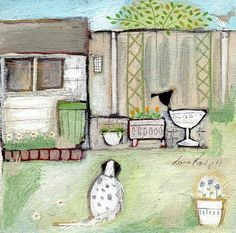 Waiting for the Shed Mouse Card by Louise Rawlings English Artists, Cute House, Art Archive, Photo Craft, Art Themes, Beach Art, Dog Art, Artist At Work, Cute Art