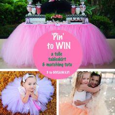 Pin to WIN A Handmade Tulle Tutu Table Skirt & A Matching Princess Tutu ~ 3 WINNERS!