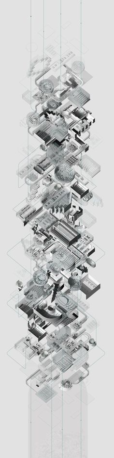Axonometric drawing: Needed for final submission Architecture Graphics, Architecture Drawings, Architecture Design, Timeline Architecture, Axonometric Drawing, Isometric Drawing, London Underground, Layout Design, Technical Drawing
