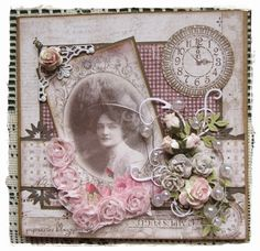 Vintage style card that could be easily adapted to a heritage page. Love the mix of lush flower sprays contrasted with a simple background.