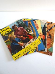 5 French Vintage Magazines Marie France 1949 no by BrocAndPop