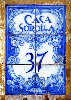Vintage handpainted blue address tiles, Spain.