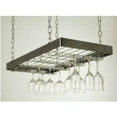 Rogar Hanging Wine Glass Rack - Hammered Steel/ Chrome by Rogar - CellarsOfWine.com - Repin, Like & Share - Thanks!