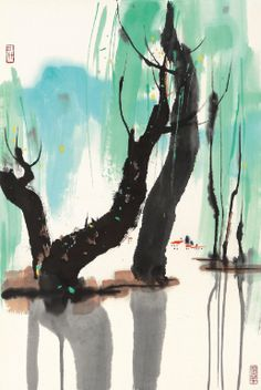 Wu Guanzhong. 1919-2010. The Hua stream. Ink and colour on paper. 68.3x46cm.
