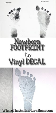 How to trace & cut baby's footprint with Silhouette Cameo to create a personalized vinyl decal keepsake. Step-by-step instructions with pictures.