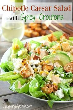 Spicy Caesar Salad with a super easy chipotle dressing and croutons!  Kickin' up the Caesar Salad!