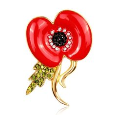 Remembrance Day Poppy Gold Plated Pin