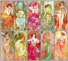 Alphonse Mucha composition poster. 120 years ago Czech artist Alphonse Mucha started producing Art Nouveau lithograhed posters of Sarah Bernhardt et al.