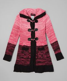 Another great find on #zulily! Pink & Black Sweater Coat - Toddler & Girls #zulilyfinds