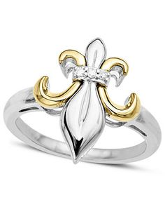 Sterling Silver and 14k Gold Ring, Diamond Accent Fleur De Lis Ring - Rings - Jewelry & Watches - Macy's