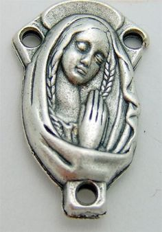 MRT Virgin Mary Praying Holy Rosary Centerpiece Part Silver Plate Italy .65""