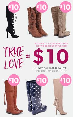 Show Your Feet Some Love! For a limited time, new JustFab VIPs get their first pair for only $10! First, take our Style Quiz and be whisked away to your own personalized boutique curated just for you. Then, get your favorite style for as low as $10! As a VIP, you'll enjoy up to 30% off the retail price, free shipping on orders over $39, and early access to sales! Just login each month and shop or 'Skip the Month' by the 5th and you won't be charged. Hurry, this offer won't last long!