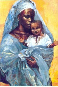 MaterDei - Blessed Mother Maria with Jesus - Africa - Mafa Catholic Art, Religious Art, Art For Art Sake, All Art, Hail Mary In Latin, Jesus Jose Y Maria, Afrique Art, Black Jesus, Art Prompts