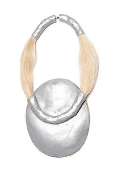 Agnes Larsson, necklace, hair jewelry - Remains 7, 2015, necklace, calf skin, aluminum, horse hair, iron, 15.5 x 8.5 x 1.5 inches