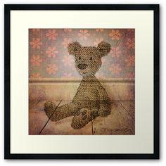 Barely Bear Framed Art Print by Paul Stickland for StrangeStore Bear Toy, Teddy Bear, Cool Mugs, Children's Book Illustration, Online Gifts, Vintage Toys, Framed Art Prints, Unique Gifts, Cute