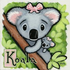 Hand Painted Original Koala Bear Painting  Art by ShellyMundelArt, $50.00