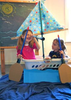 Make a sailboat from a laundry basket- great for a rainy day. Imaginative play